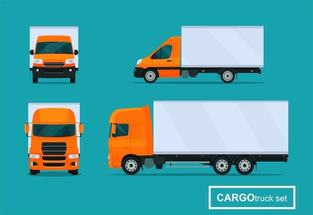 Set di camion cargo. vista laterale e vista frontale. illustrazione di stile piatto.