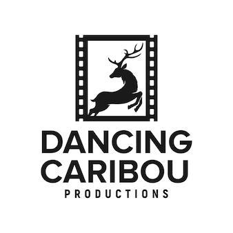 Caribou caro nastro cinema produzione logo ispirazione silhouette vettore