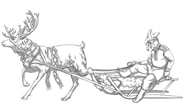 Cervi del caribù e popolazioni indigene della russia settentrionale. disegno vintage in bianco e nero. illustrazione vettoriale. natura e uomo.