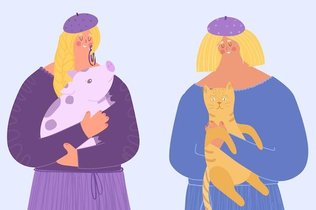 Prendersi cura degli animali. donne che tengono in braccio un maialino e un gatto.
