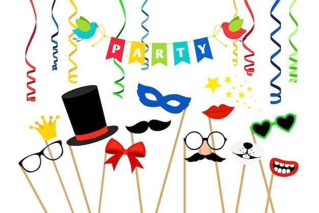 Accessori per feste di carnevale. maschere in maschera e illustrazione di oggetti di scena per cabine fotografiche di compleanno