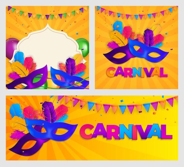 Set di carnevale maschera tradizionale con piume e striscioni di coriandoli.