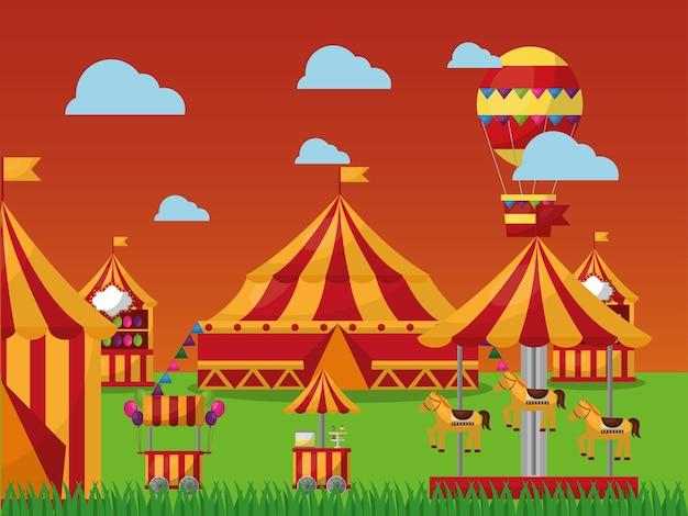 Tenda da circo parco divertimenti nel circo
