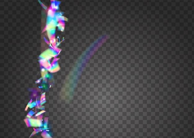 Sfondo di carnevale. bagliore iridescente. discoteca carnevale serpentina. prisma laser. caleidoscopio glitter. foglio di unicorno. scintillii retrò rosa. arte glitterata. sfondo di carnevale viola