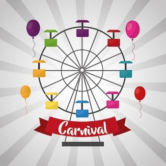 Carnevale ruota panoramica palloncini divertimento fiera festival