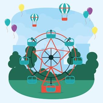 Disegno dell'illustrazione della ruota panoramica di carnevale