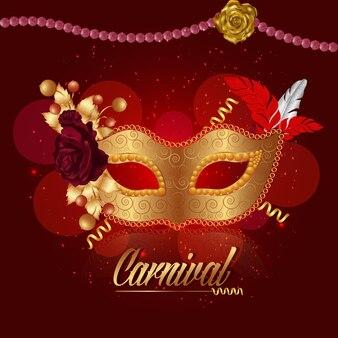 Maschera di carnevale d'oro sul rosso