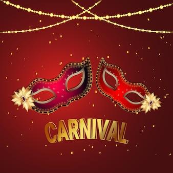 Biglietto di auguri di carnevale con maschera creativa su sfondo rosso