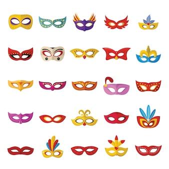 Set di icone veneziane di carnevale maschera