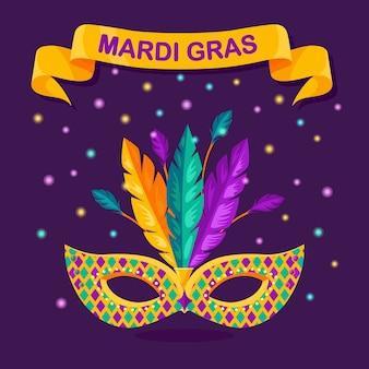 Maschera di carnevale con piume sullo sfondo. accessori per costumi per feste. mardi gras, concetto di festival di venezia.