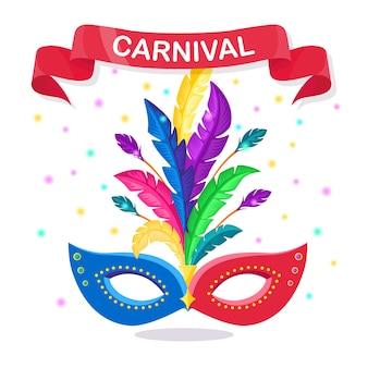 Maschera di carnevale con piume accessori per costumi per feste. mardi gras, concetto di festival di venezia.