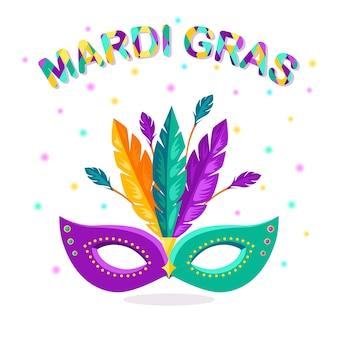 Maschera di carnevale con piume su sfondo bianco. accessori per costumi per feste. mardi gras, festival di venezia.