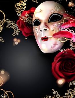 Maschera di carnevale con rose e piume su fondo nero in stile 3d