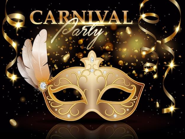Poster di invito festa di carnevale, banner, maschera di carnevale d'oro