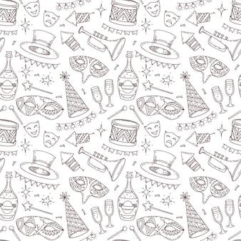 Modello senza cuciture di carnevale con elementi di decorazione in stile doodle, simboli di celebrazione