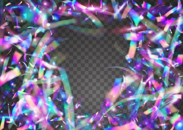 Scintille di carnevale. decorazione di carnevale brillante. sfondo caleidoscopio. sfocatura bagliore. glitter in metallo rosa. arte moderna. foglio di festa. coriandoli che cadono. scintillii di carnevale viola