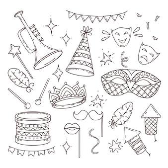Simboli di carnevale in stile doodle su sfondo bianco, elementi di carnevale veneziano