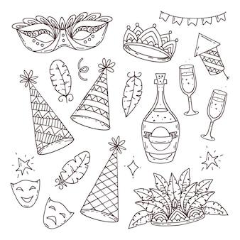 Simboli ed elementi di carnevale in stile doodle su sfondo bianco, insieme di carnevale veneziano