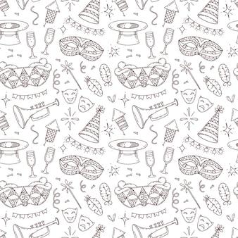 Simboli ed elementi di carnevale, modello senza cuciture in stile doodle, elementi di decorazione