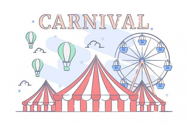Carnevale con l'illustrazione della tenda di circo