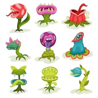Piante carnivore, fiori fantastici e malvagi fantastici colorati con denti illustrazioni su uno sfondo bianco