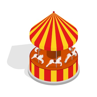 Carousel horse or merry-go-round ride with shadows element amusement park design isometric view.