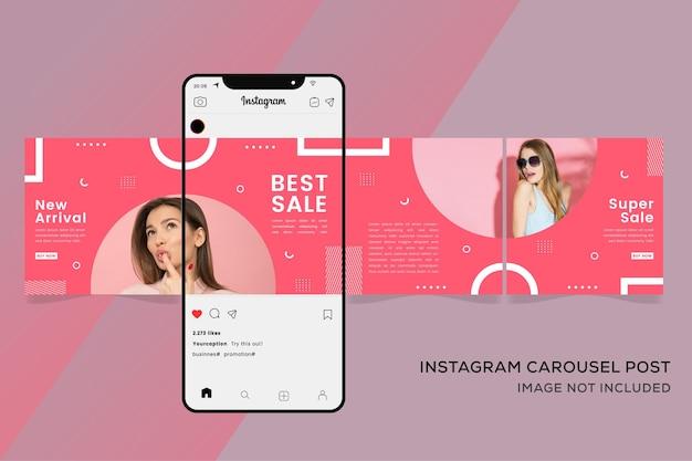 Modello di banner instagram carosello per social media fashion sale premium