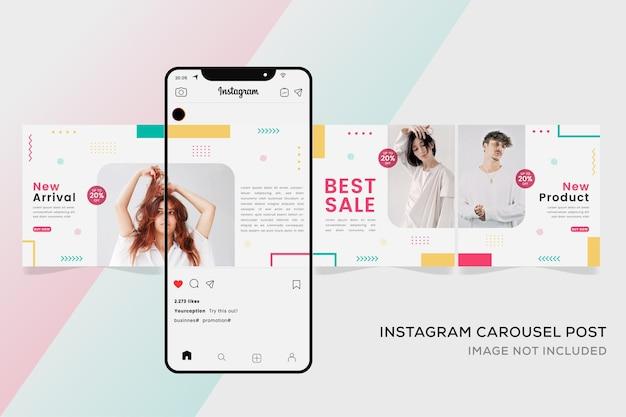 Banner di modelli instagram carosello per premium colorato di moda