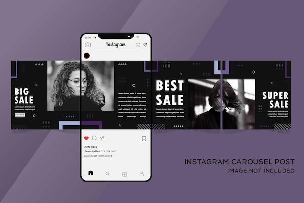 Banner di modelli instagram carosello per premium colorato di vendita di moda