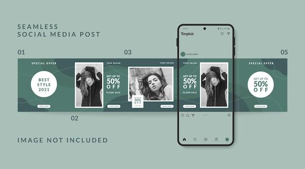 Carousel social media post template promozione della vendita di moda