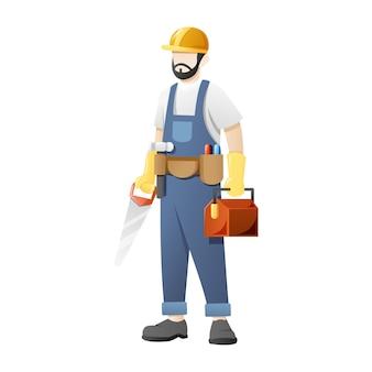 Il carpentiere trasporta sega e attrezzature da lavoro