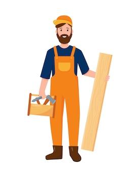 Carattere del carpentiere con tavola di legno e strumenti di lavoro. concetto di persone di professione isolato su priorità bassa bianca.