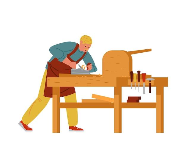 Falegname che fa il carattere dell'artigiano di mobili