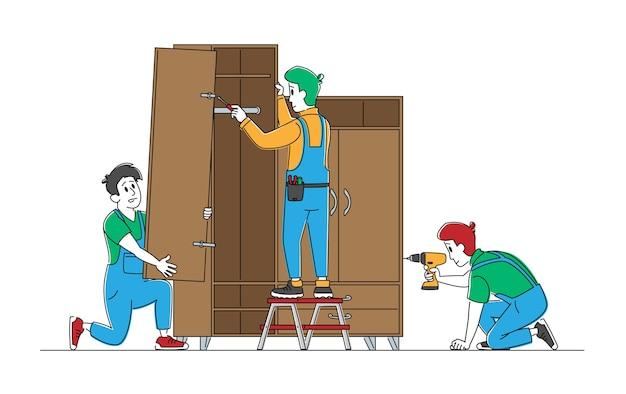 Personaggi di uomini falegname con trapano elettrico e strumenti assemblano mobili