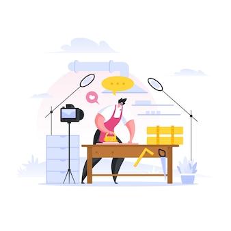 Video tutorial di carpenter per il blog. illustrazione di persone dei cartoni animati