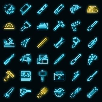 Set di icone degli strumenti del carpentiere. contorno set di strumenti da carpentiere icone vettoriali colore neon su nero