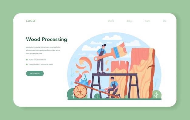 Banner web del carpentiere o pagina di destinazione lavorazione del legno del falegname