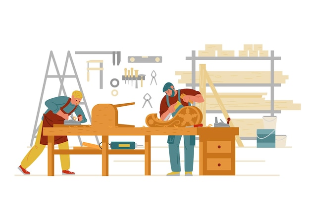 Falegname officina interni con uomini che lavorano intaglio su legno che fa mobili carattere artigiano