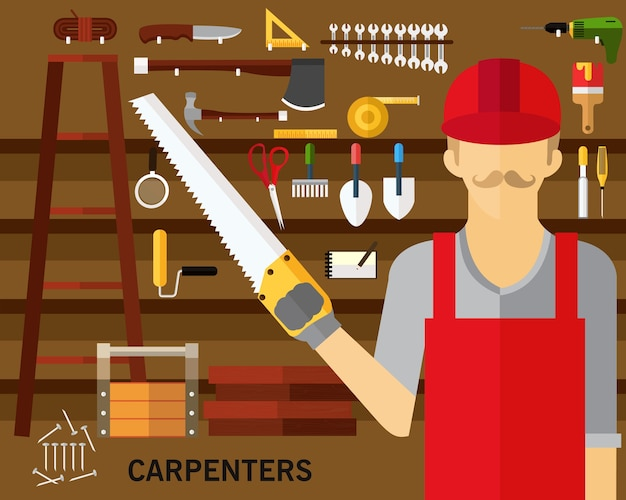 Priorità bassa di concetto di carpentieri. icone piatte.
