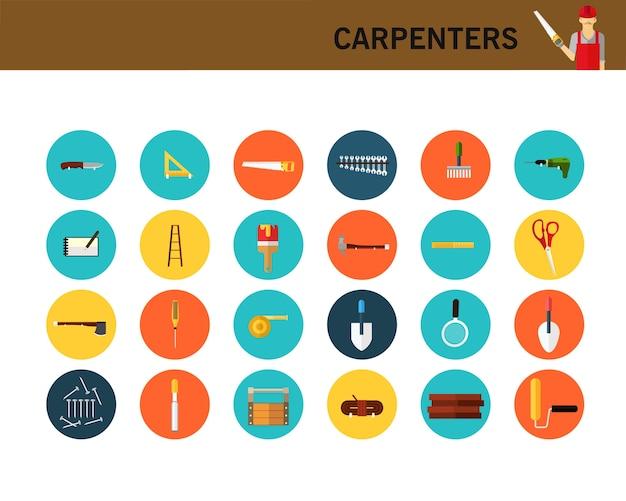 Icone piane di concetto di carpentieri.