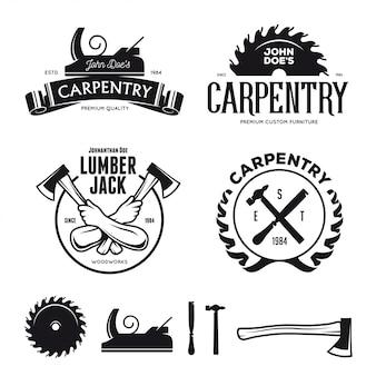 Emblemi di carpenteria, badge, elementi