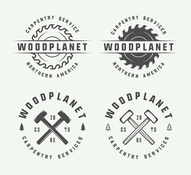 Emblemi di falegnameria, falegnameria e meccanico