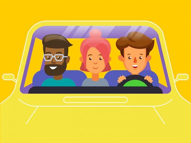 Carpool. concetto di car sharing.