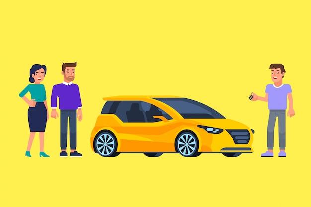 Carpool e car sharing. gente felice davanti alla macchina.