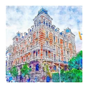 Illustrazione disegnata a mano di schizzo dell'acquerello di carrer de balmes barcellona