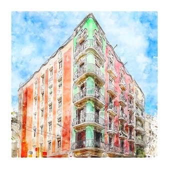 Illustrazione disegnata a mano di schizzo dell'acquerello di carrer gran de gracia barcellona