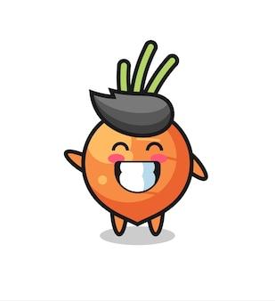 Personaggio dei cartoni animati di carota che fa il gesto della mano con l'onda, design in stile carino per maglietta, adesivo, elemento logo