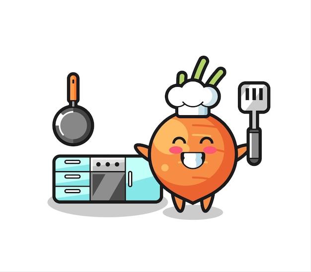 Illustrazione del personaggio di carota mentre uno chef cucina, design in stile carino per maglietta, adesivo, elemento logo