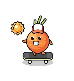 L'illustrazione del personaggio di carota cavalca uno skateboard, design in stile carino per maglietta, adesivo, elemento logo