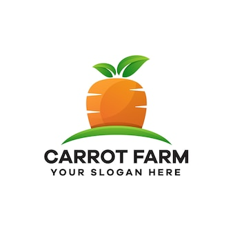 Design del logo sfumato della fattoria delle carote